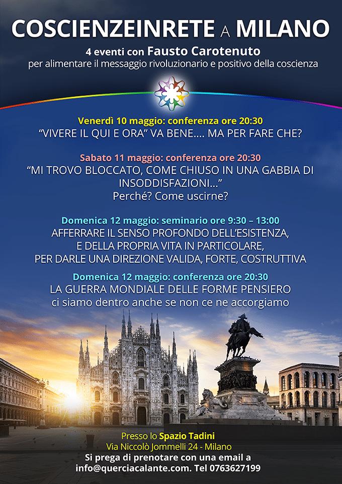 Coscienzeinrete a Milano 10-12 maggio 2019: 4 eventi per alimentare il messaggio rivoluzionario e positivo della coscienza